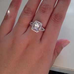 925 silver cz princess cut halo engagement ring