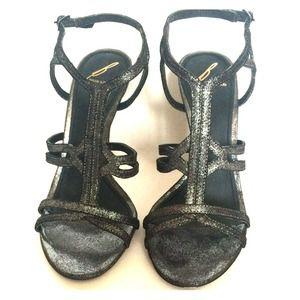 B Brian Atwood-Size 7-Gunmetal Metallic Heel