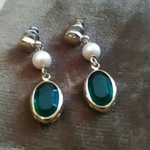 Green stone and pearl earrings