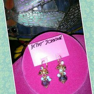 Betsey Johnson Blue Gold Bow Earrings Dangles