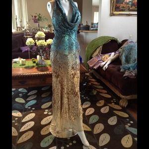 terani couture Dresses & Skirts - Blue gold long dress