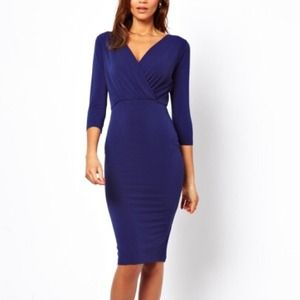 ASOS Dresses & Skirts - Asos Pencil Dress with Wrap in Crepe *Navy Blue*