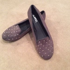 Brand New Gray Suede Studded Oxford Flats