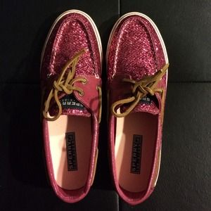 New Sperry Top-sider Bahama Pink Sparkle shoes