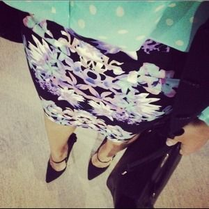 Black Mirrored Floral Print Pencil Skirt