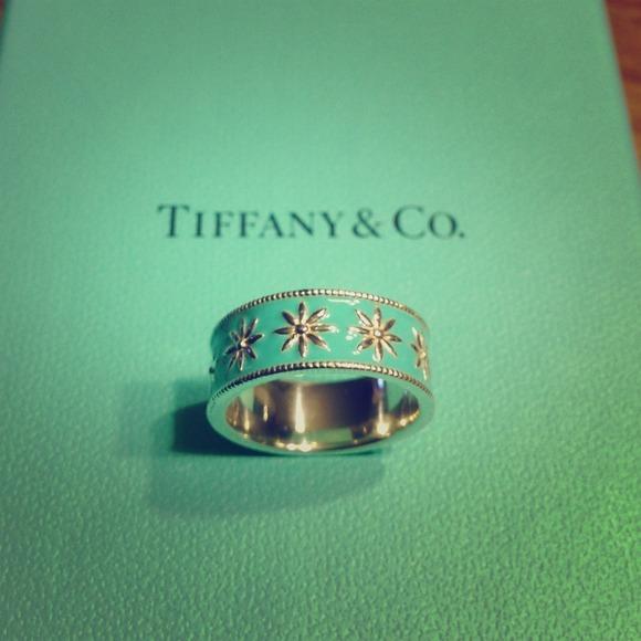 3d4855234 Tiffany & Co. Jewelry | Tiffany Daisy Blue Enamel Ring Size 56 Or 7 ...