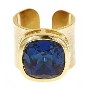 Jewelry - Gold and navy stone ring    Adjustable