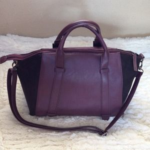 Black Suede & Purple Faux Leather Handbag