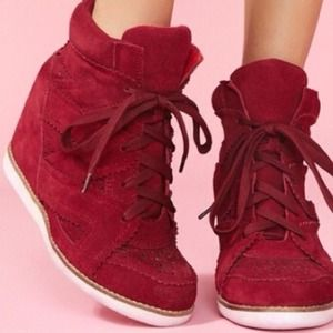 Jeffrey Campbell Shoes - Jeffrey Campbell Venice Wedge Suede Maroon Sneaker
