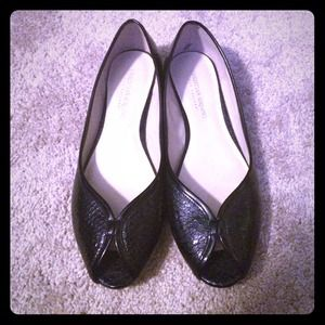 Christian Siriano Shoes - Black Patent Leather Peep toe Flats