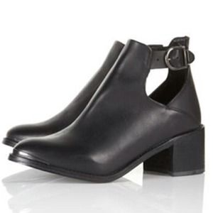 TopShop Black Leather Cutout Action Ankle Boots