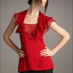Black Halo Red Olivia Top, Sheer front detail 8NWT