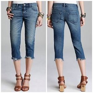 NWT Free People Distressed Cutoff Capris Jeans 30