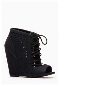 Black Nubuck Laced-Up & Dot Cut Out Wedge Booties