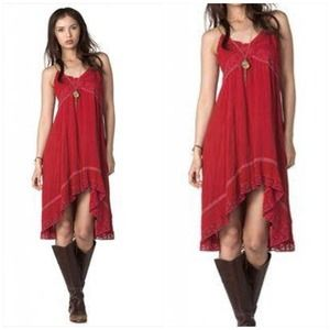 Miss Me Hi/Lo Dress crochet lace trim suede straps