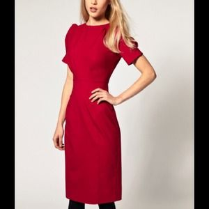 ASOS RED Pencil Dress with Ruched Sleeve 4/6