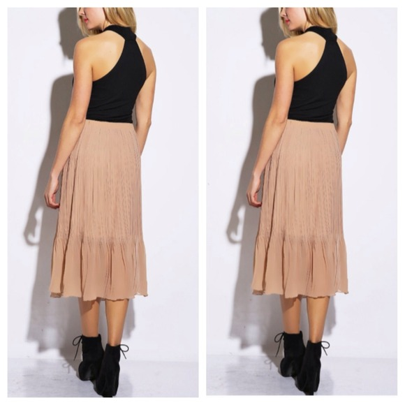 blush semi sheer pleated chiffon midi skirt xs s from