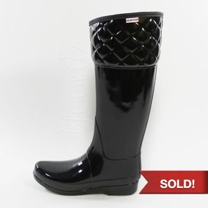HUNTER Black Quilted Boots