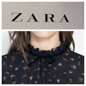 NWOT Zara, Cropped Navy Blouse