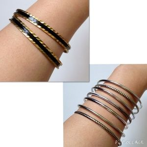 Jewelry - Two Sets of Bangles: Gold/Black Stripe & Silver
