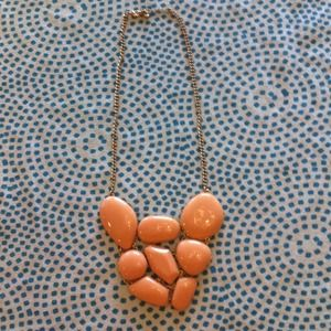 Peach chunky statement necklace