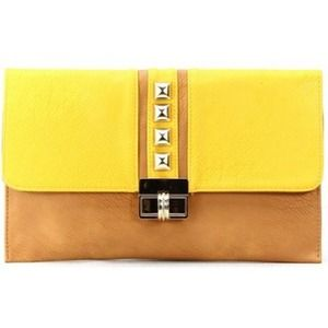 Handbags - Yellow studded clutch.
