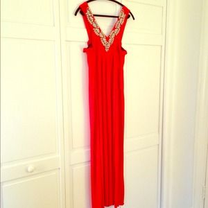 Dresses & Skirts - Red Maxi with Silver Beading