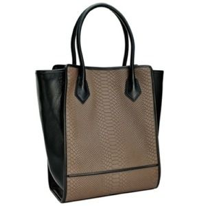 Handbags - Gigi New York Shopper Tote Taupe & Python