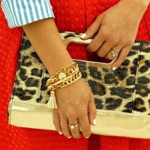 Handbags - Leopard faux leather clutch with handle