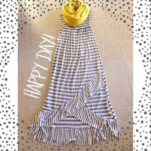 Dresses & Skirts - Grey & White Striped Maxi Dress