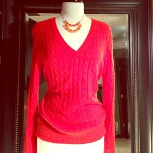 J. Crew Sweaters - Orange Pull Over Cable Sweater