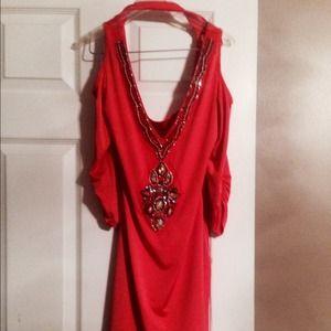 Dresses & Skirts - Sexy form-fitting orange dress w/ beaded detailing
