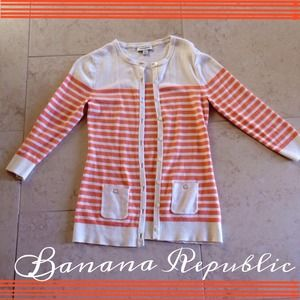 Banana Republic Jackets & Blazers - Banana Republic Orange Stripe Cardigan