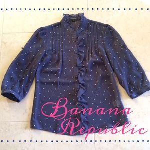 Banana Republic Tops - Polka Dot Navy Top