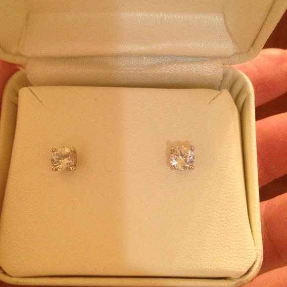 Macy S Jewelry 14k White Gold White Sapphire Studearrings Poshmark