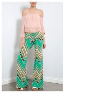 Pants - NEW Jade Brown Geometric Tribal Palazzo Pants
