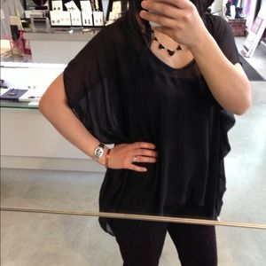 Helmut Helmut Lang black sheer top