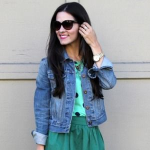 Madewell Tops - Bright Green Polka Dot Top