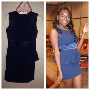 Dresses - Blue peplum dress