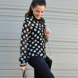 Tops - Sheer Polka Dot Blouse