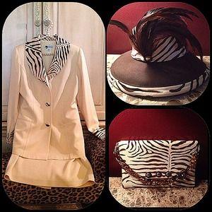 Essence Dresses & Skirts - Stunning cream and zebra velvet suit