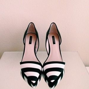 Zara Shoes - Zara stripe heels