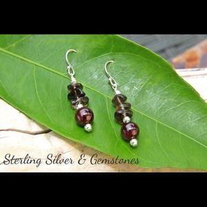 Jewelry - Sterling Silver, Garnet, and Smoky Quartz earrings