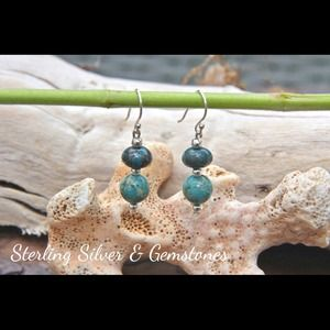 Jewelry - Sterling Silver and Imperial Jasper earrings.