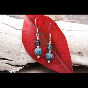 Jewelry - Handmade. Imperial Jasper and crystal earrings.