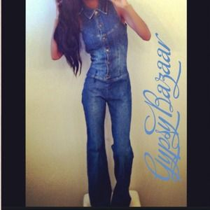 Pants - Vintage Denim Bellbottom Jumpsuit