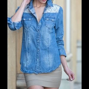Tops - Western pearl snap denim & lace shirt