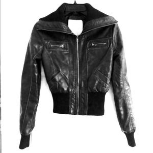 Fashionable Black Faux Leather Biker Jacket