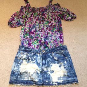 HOST PICK Bleached denim skirt