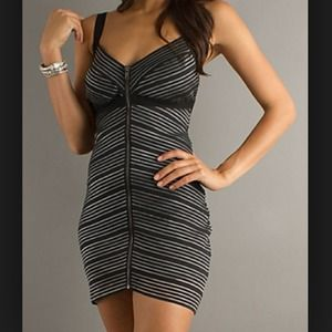 NWOT black striped bandage dress.